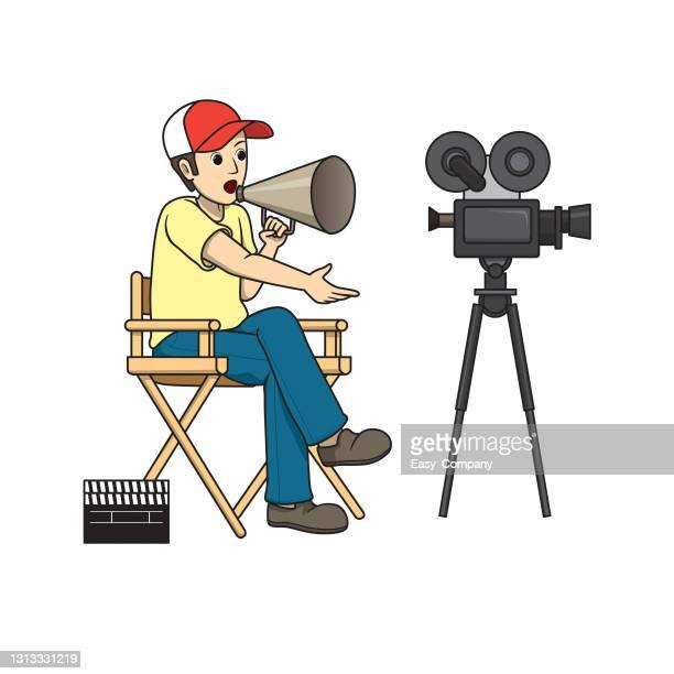 bildbanksillustrationer, clip art samt tecknat material och ikoner med vektor illustration av filmregissör isolerad på vit bakgrund. jobb och yrken koncept. tecknade karaktärer. utbildning och skolbarn målarsida, utskrivbar, aktivitet, kalkylblad, flashcard. - film and television screening