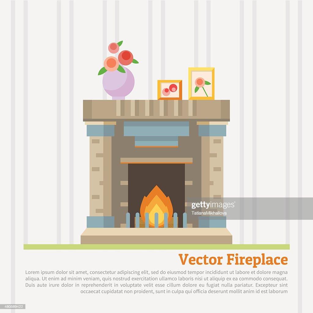 vector illustration of fireplace : Vector Art