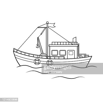 Vector Illustration Of Fishing Boat Isolated On White Background High Res Vector Graphic Getty Images