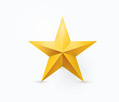 Vector illustration of five-pointed gold metal star