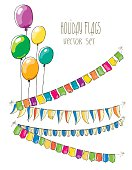 Vector Illustration of  flag garlands and  balloons on white  background.
