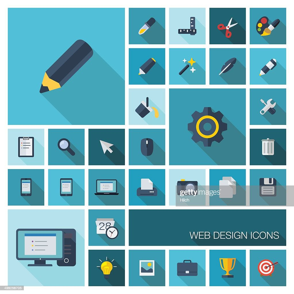 Vector illustration of flat graphic tools icons with long shadows