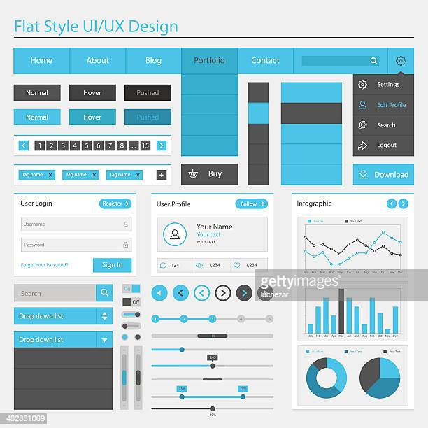 vector illustration of flat style ui or ux design - web page stock illustrations