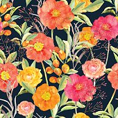 Vector illustration of floral seamless. Hand drawn beautiful flo