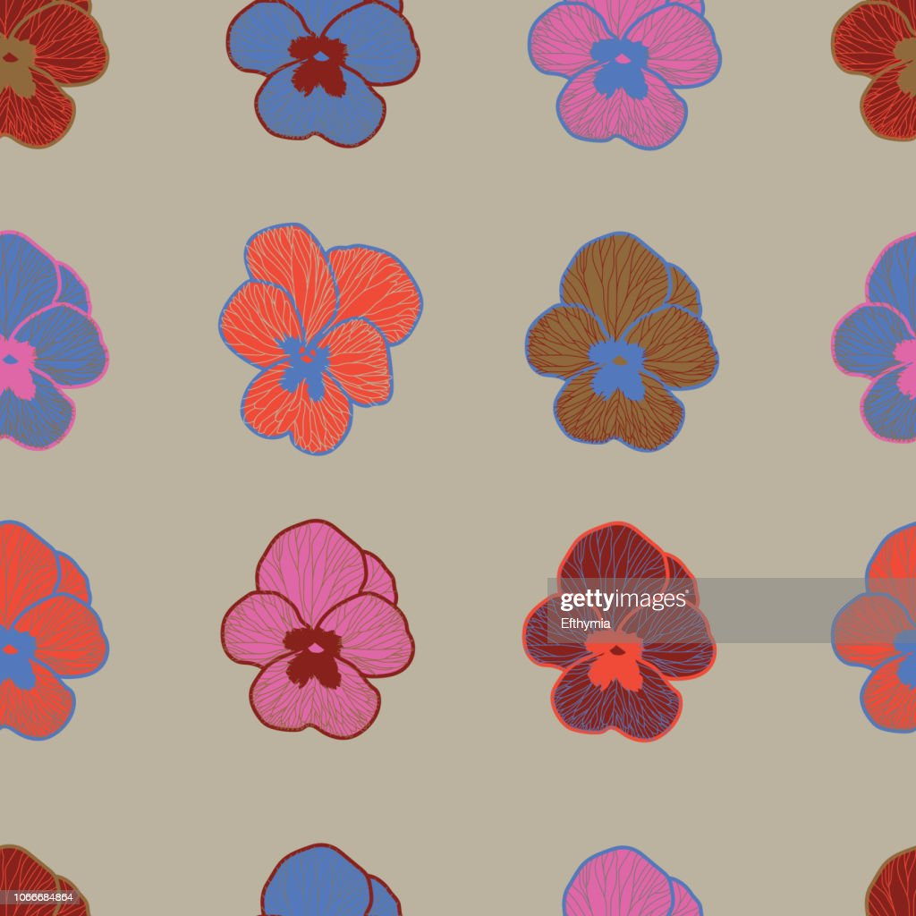 Vector illustration of floral seamless pattern.Pansy flower