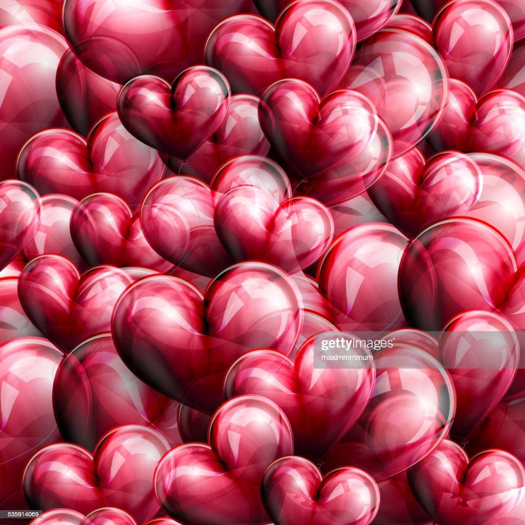 Ilustração vetorial de balão vermelho voador corações. I love you-Frase em inglês : Arte vetorial