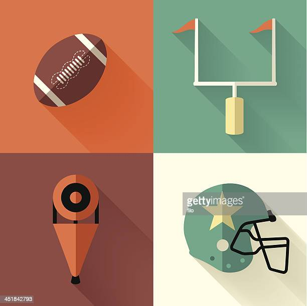 vector illustration of football symbols - football field stock illustrations, clip art, cartoons, & icons