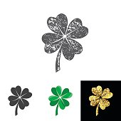 Vector illustration of four leaved clover set for saint Patricks day greeting