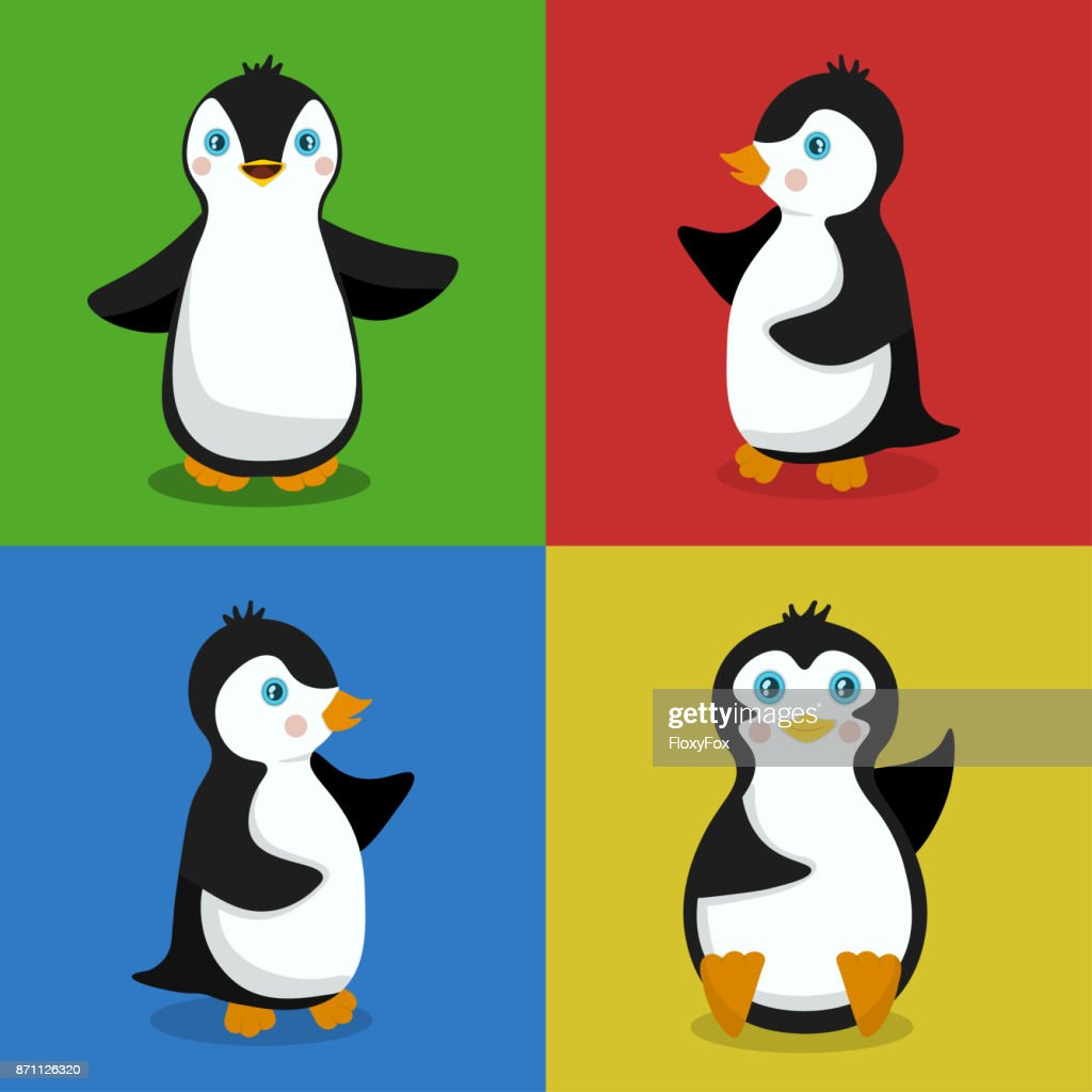 Vector illustration of four penguins baby for a design element