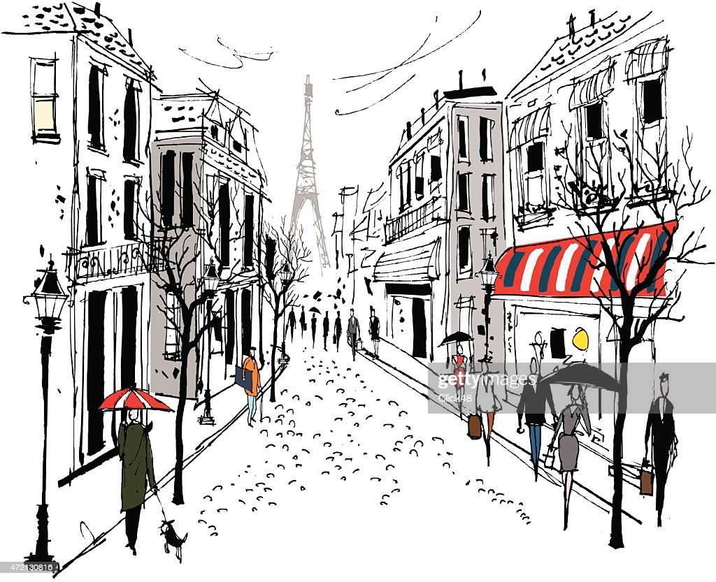 Vector illustration of French street scene with pedestrians