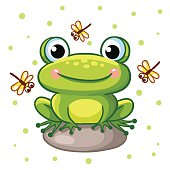 Vector illustration of frog on a rock.