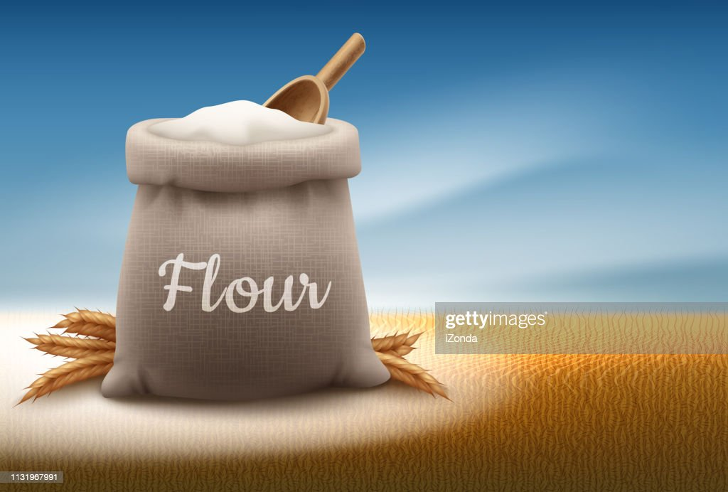 Vector illustration of full bag of white flour with shovel and ears of wheat on landscape background with sky