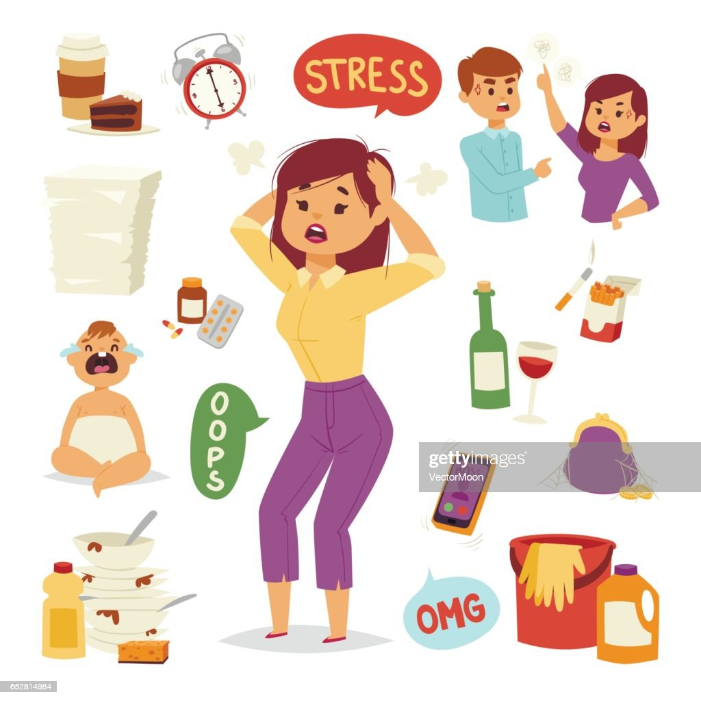 Vector illustration of funny brunette stressed woman with her hands on the head and wide opened mouth headache tired female character