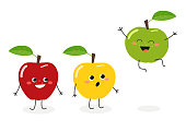 Vector illustration of funny cartoon apples isolated on white background