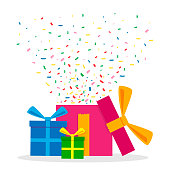 Vector Illustration of Gift Boxes with Confetti.