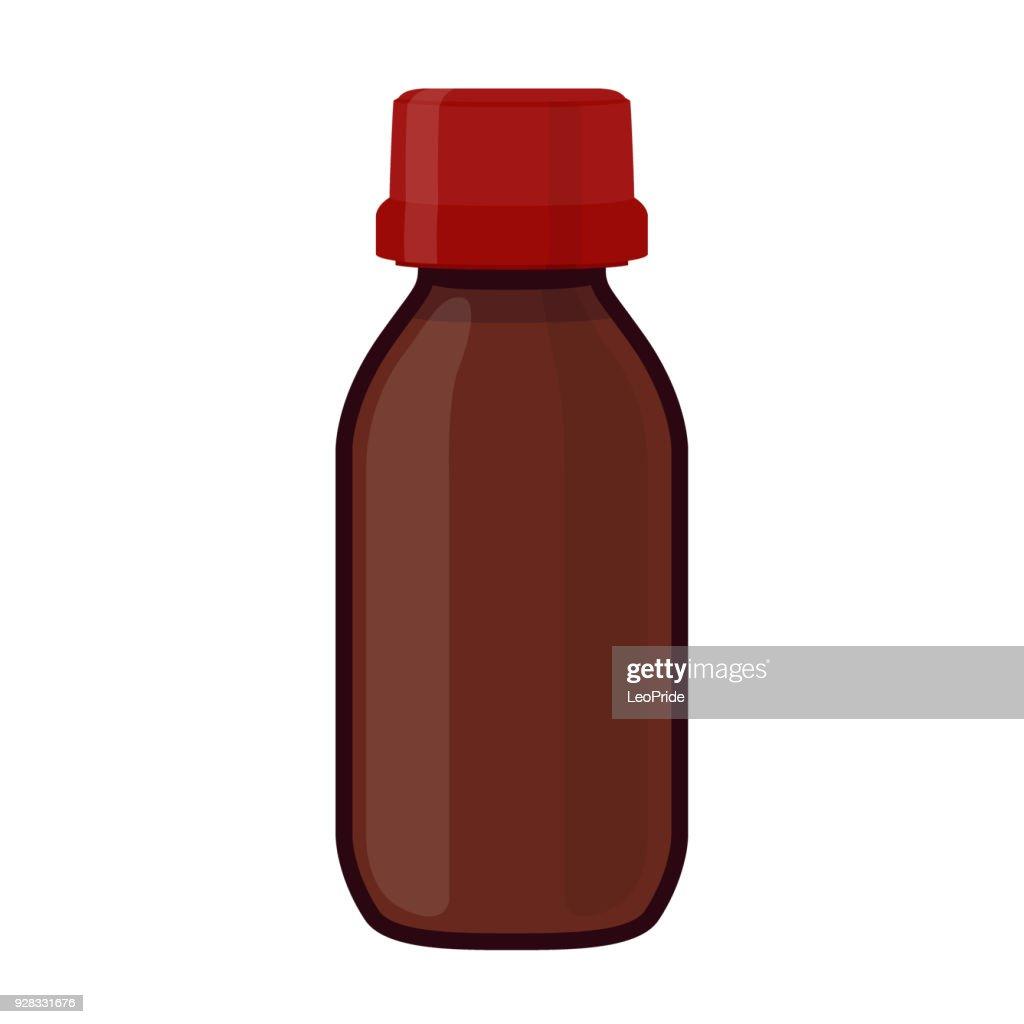 Vector illustration of glass bottle for medicine, cosmetics, chemistry. Cartoon flat style