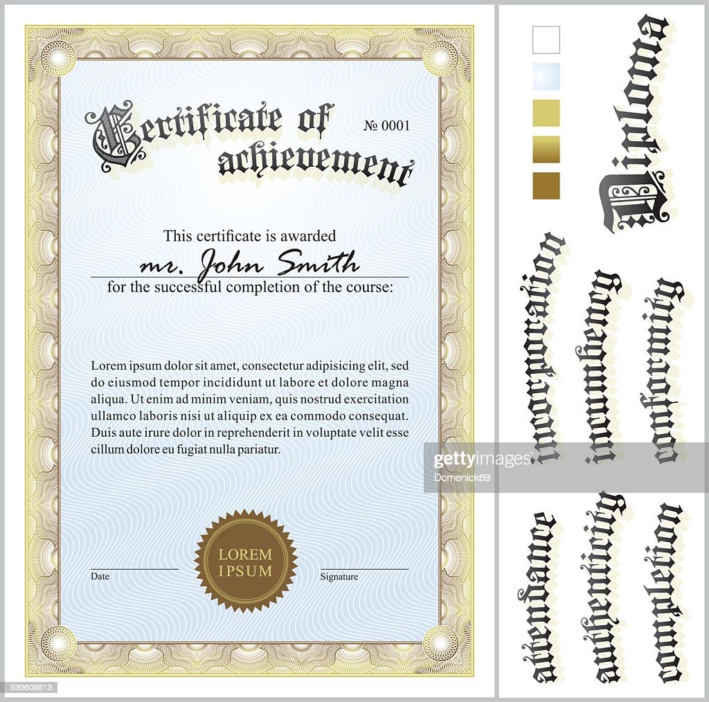Vector Illustration Of Gold Certificate Template Vertical Additional