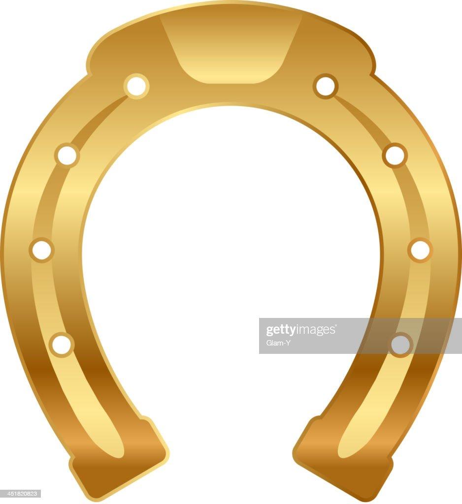 Vector illustration of gold horseshoe (good luck talisman)