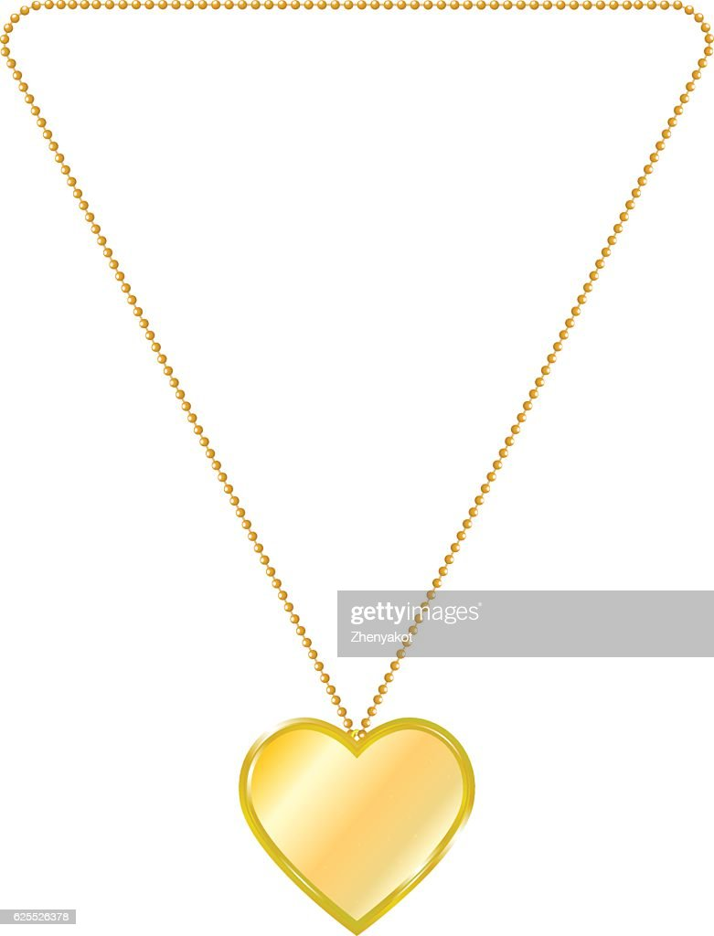 Vector illustration of gold jewelry in the form of heart