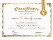 Vector illustration of gold vintage certificate