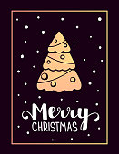 Vector illustration of golden color christmas fir tree with whit