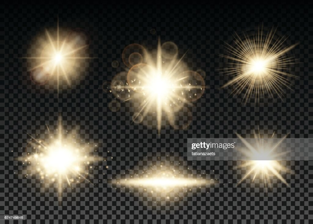 Vector illustration of golden lights set