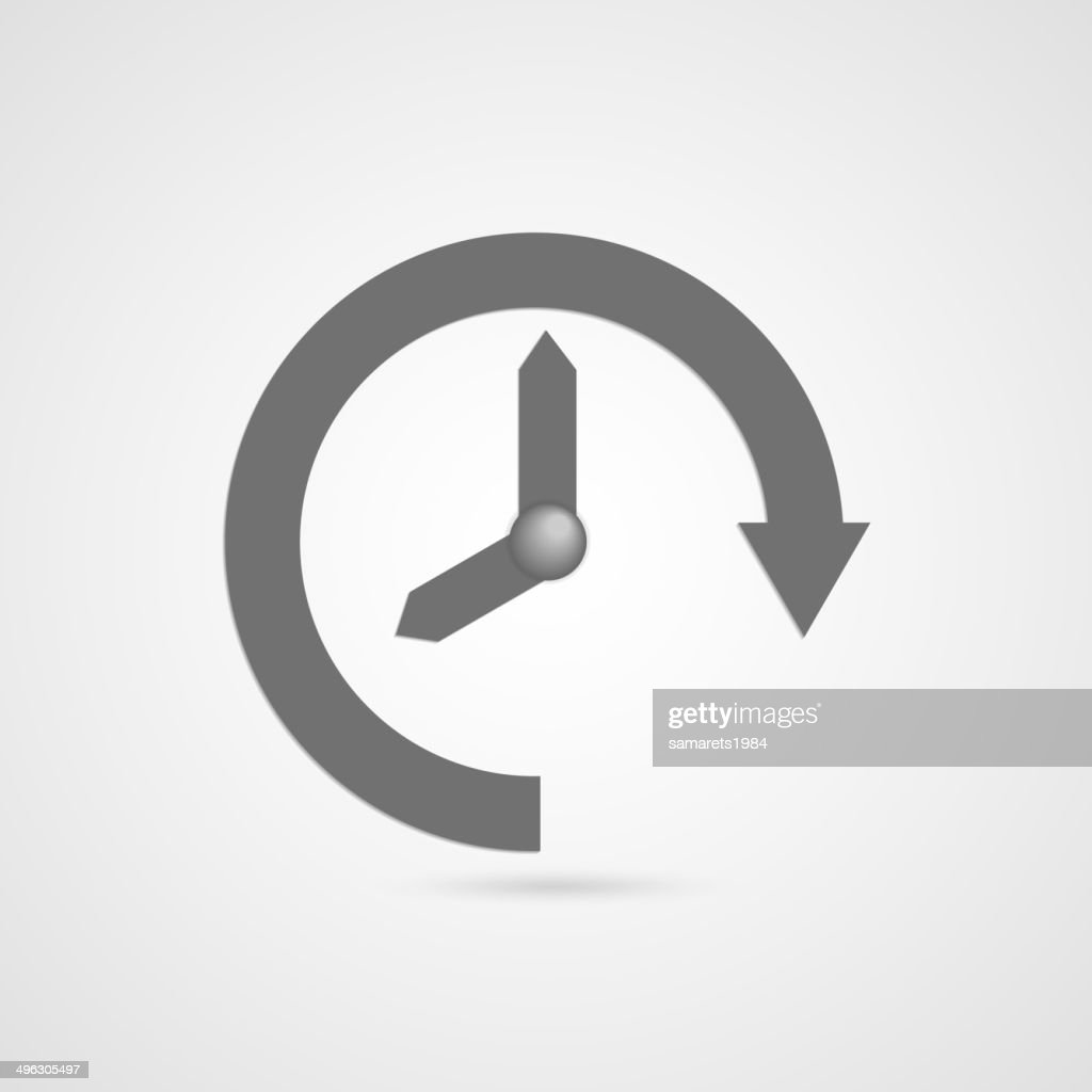 Vector illustration of gray arrow clock icon