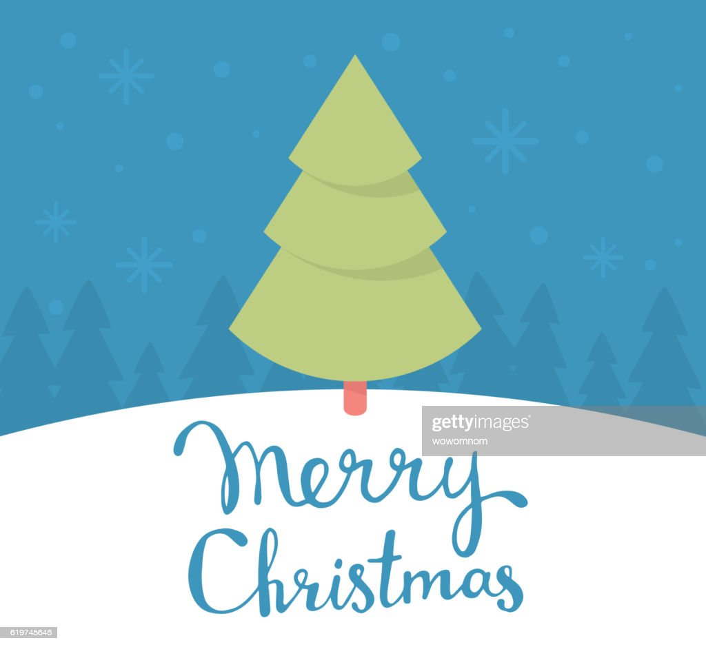 Vector Illustration Of Green Color Christmas Fir Tree With Handw ...