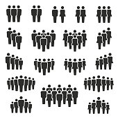 Vector illustration of group of stylized people in black