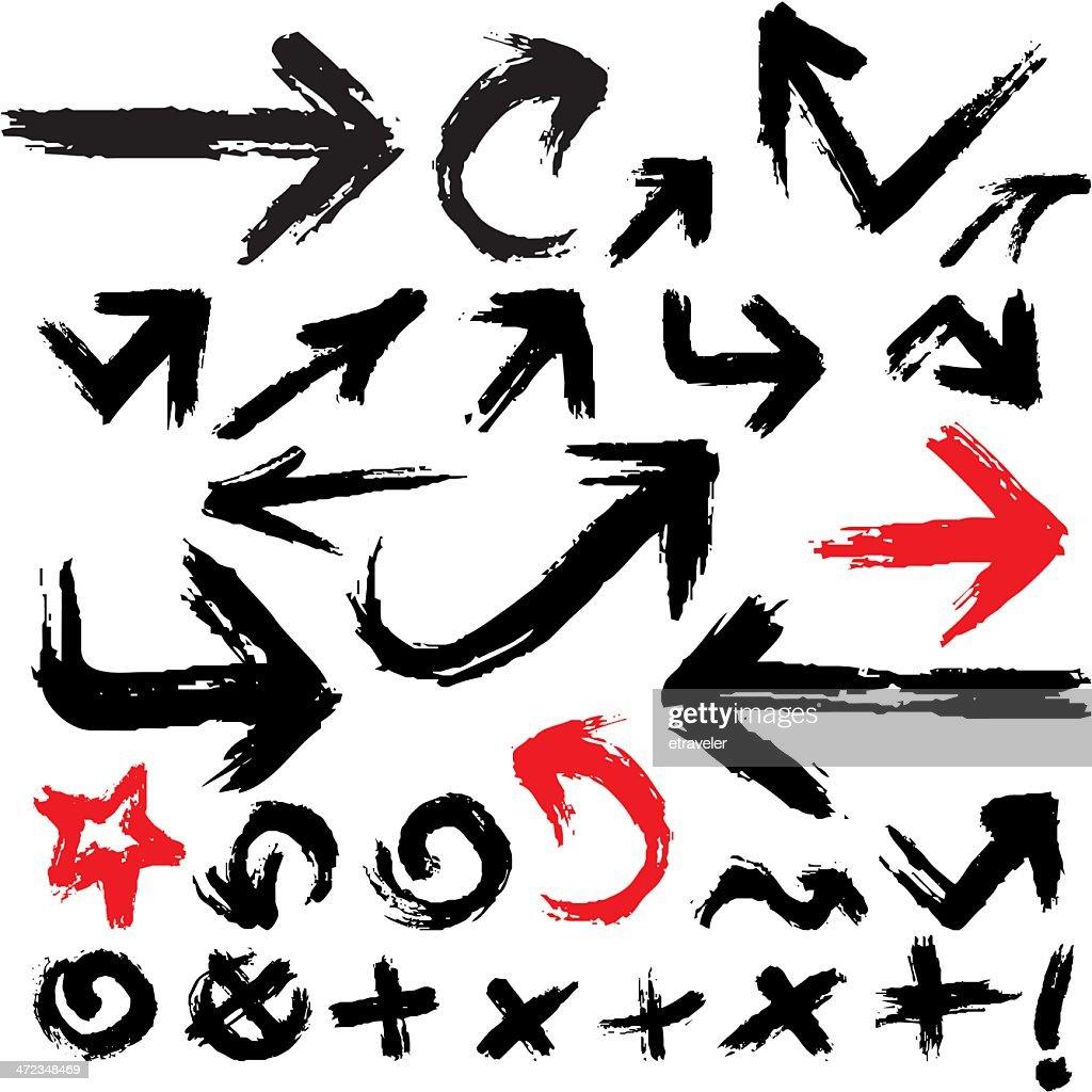 Vector illustration of grunge arrow set