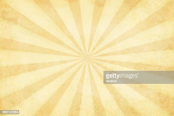 illustrazioni stock, clip art, cartoni animati e icone di tendenza di vector illustration of grunge light brown sunburst - vecchio stile