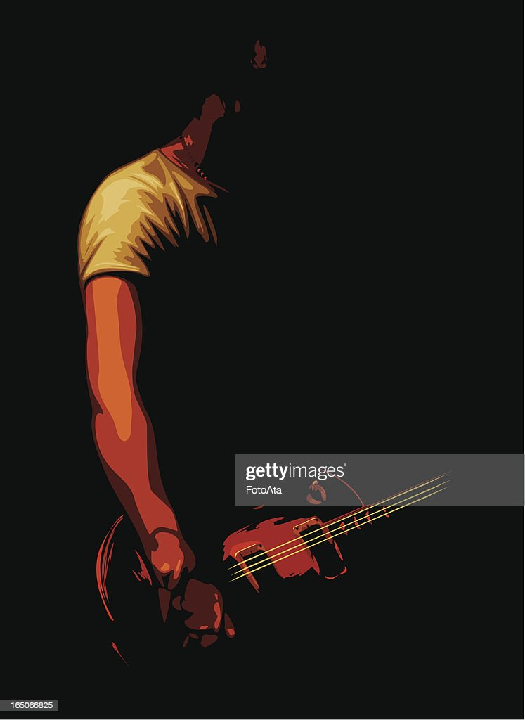Vector illustration of guitarist in shadows : stock illustration