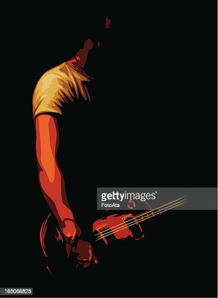 Vector illustration of guitarist in shadows
