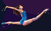 Vector illustration of gymnast girl