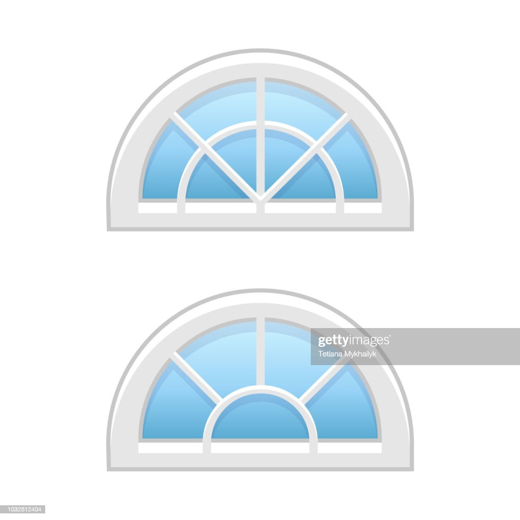 Vector illustration of half round attic vinyl windows. Flat icon of traditional aluminum fanlight windows with radial bars for garrets & doorways. Isolated on white background.