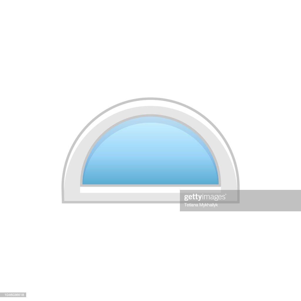 Vector illustration of half round doorway vinyl window. Flat icon of traditional aluminum semi circular window for garret & attic. Isolated on white background.
