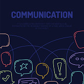 Vector illustration of hand draw dialog speech bubbles with icons communication line