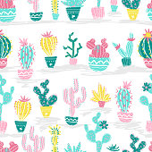 Vector illustration of hand drawn cactus. Seamless pattern.