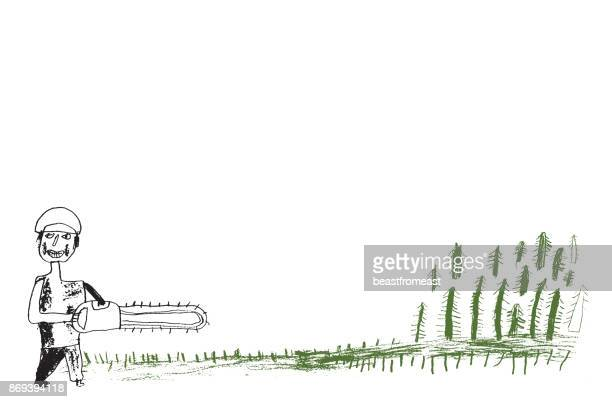 vector illustration of hand drawn man with chainsaw cutting trees - power tool stock illustrations, clip art, cartoons, & icons