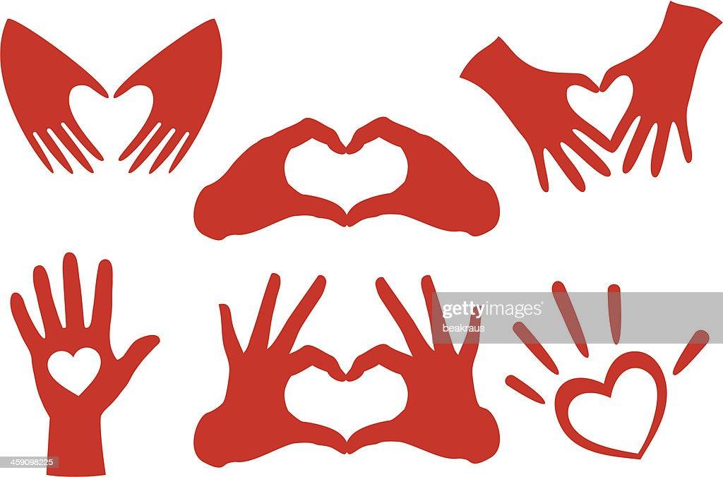 Vector illustration of hand heart sets