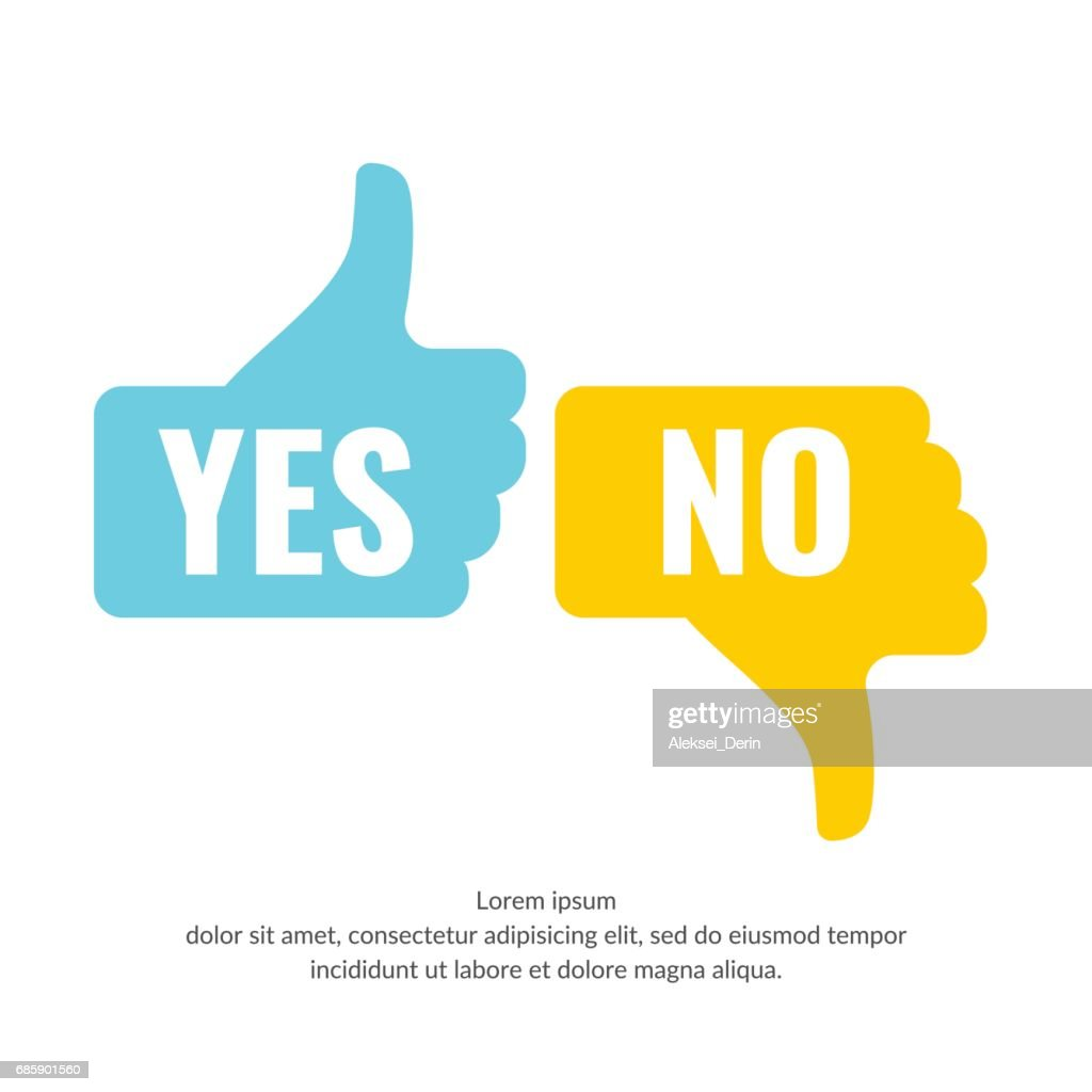 Vector illustration of hand voting with Yes and No in flat style