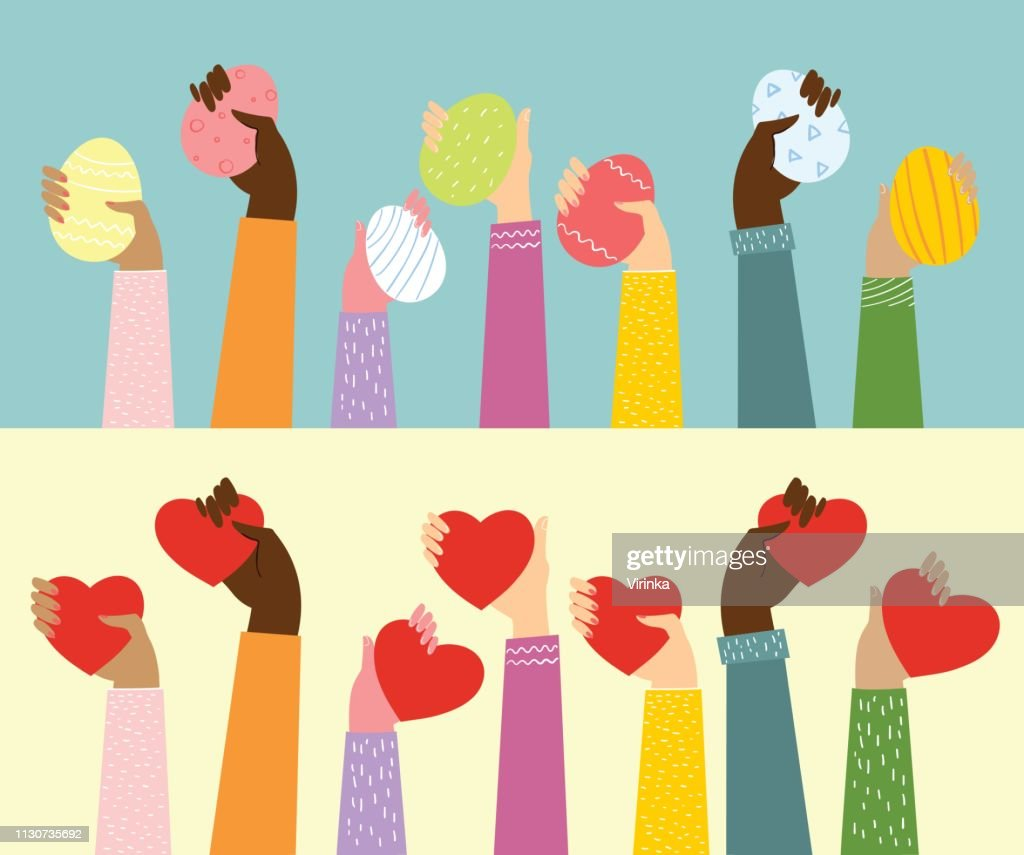 Vector illustration of hands up with the eggs and hearts