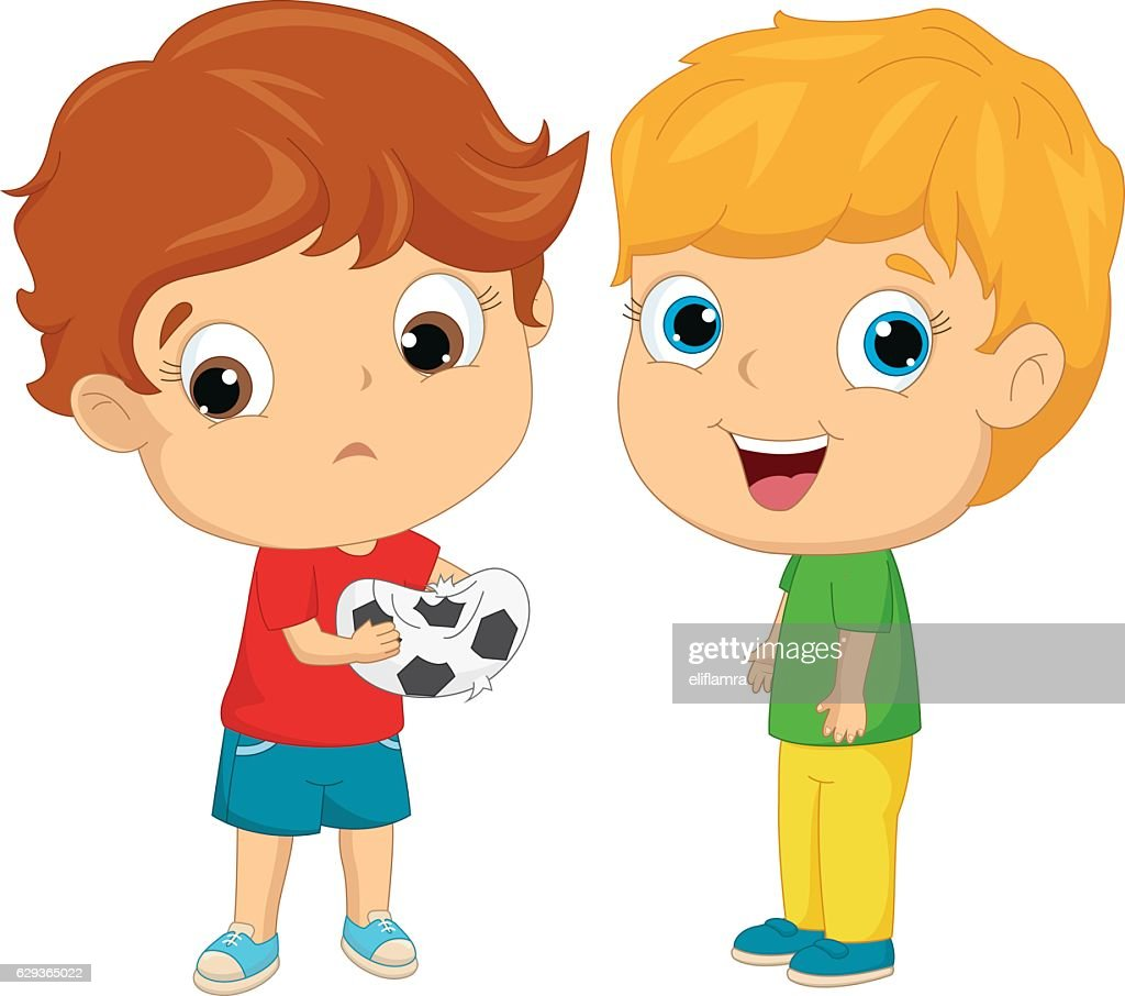 Vector Illustration Of Happy and Unhappy Kids