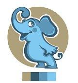 vector illustration of happy cartoon elephant..