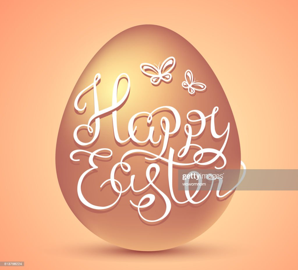 Vector Illustration Of Happy Easter Greetings With Golden Egg Vector
