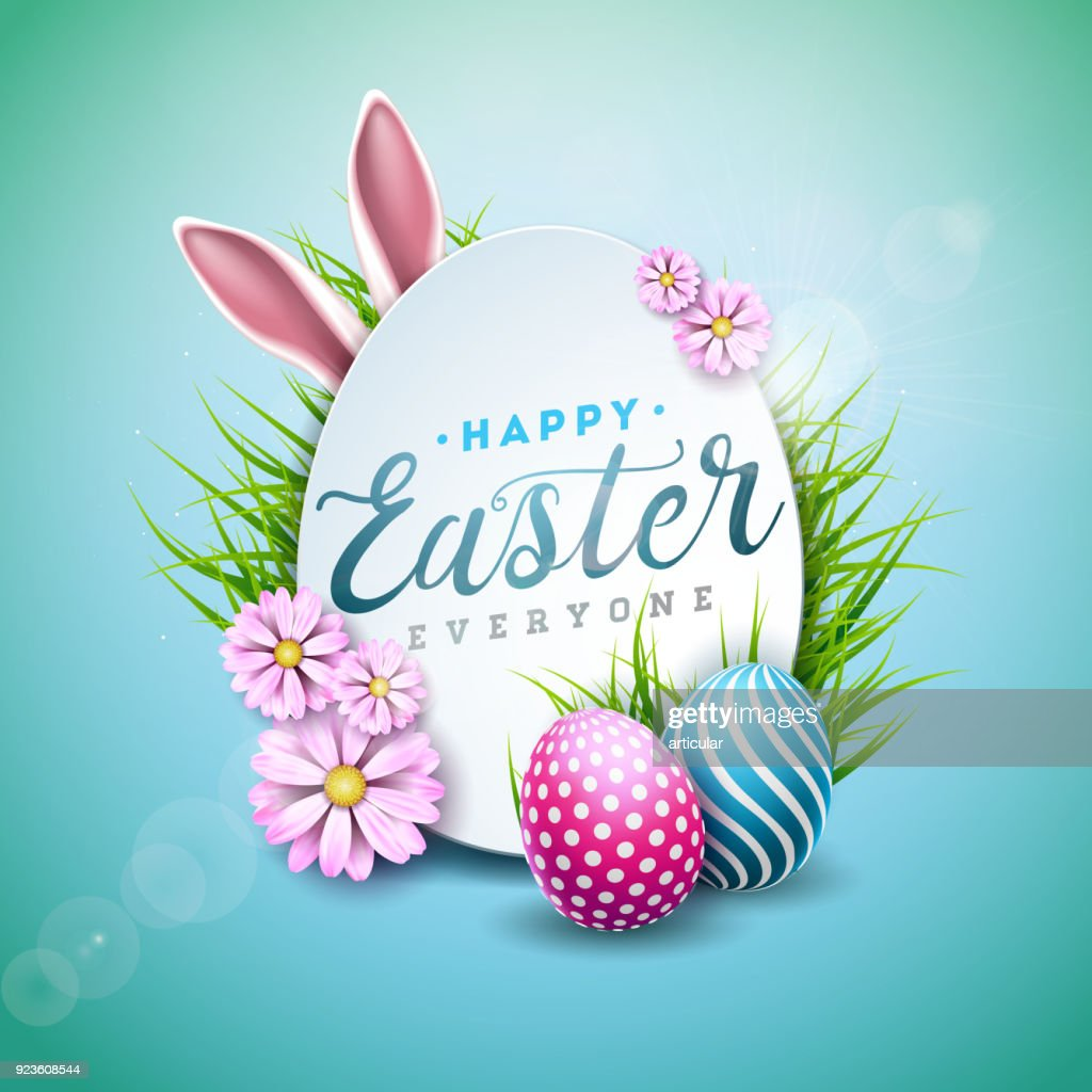 Vector Illustration of Happy Easter Holiday with Painted Egg, Rabbit Ears and Flower on Shiny Blue Background. International Celebration Design with Typography for Greeting Card, Party Invitation or Promo Banner.