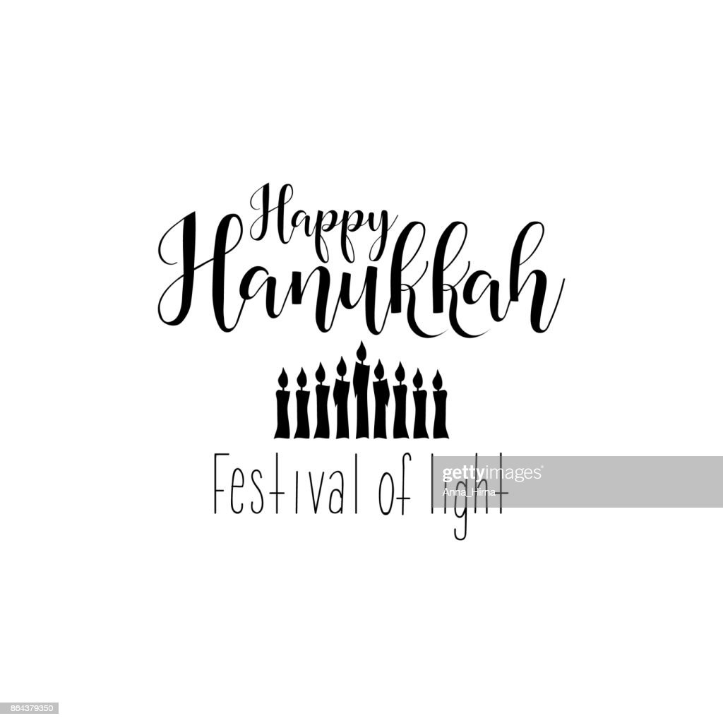 Vector illustration of Happy Hanukkah. Festival of light  lettering text sign isolated on white background.