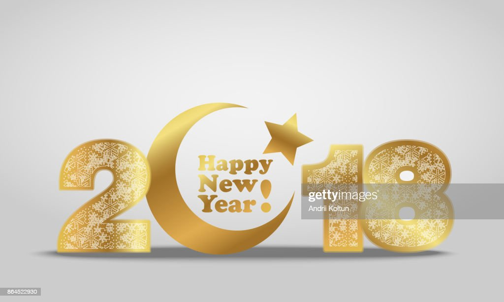Vector illustration of happy new year 2018 gold numeral with silver snowflakes ornament on white background with golden moon and star-muslim symbol. Year of the Dog For Chinese calendar