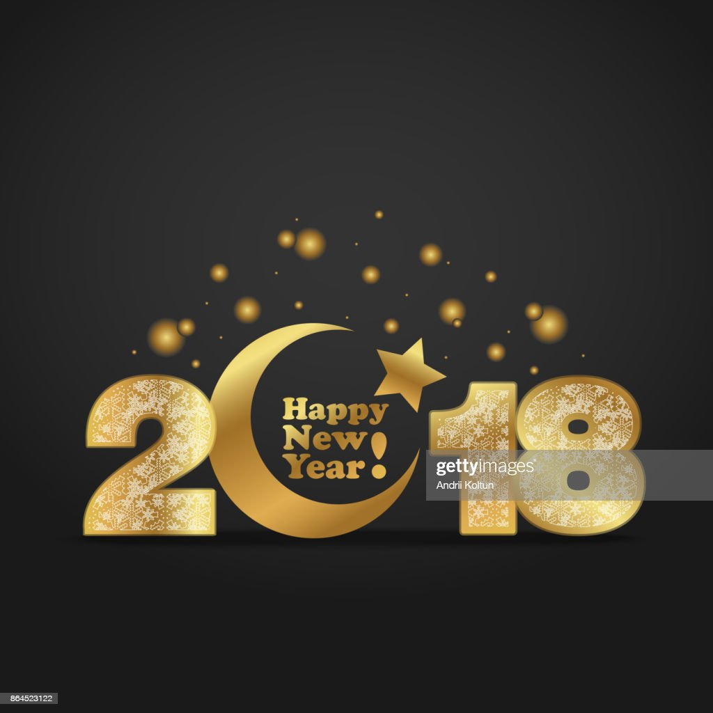 Vector illustration of happy new year 2018 gold numeral with silver snowflakes ornament on black background with golden moon and star-muslim symbol. Year of the Dog For Chinese calendar