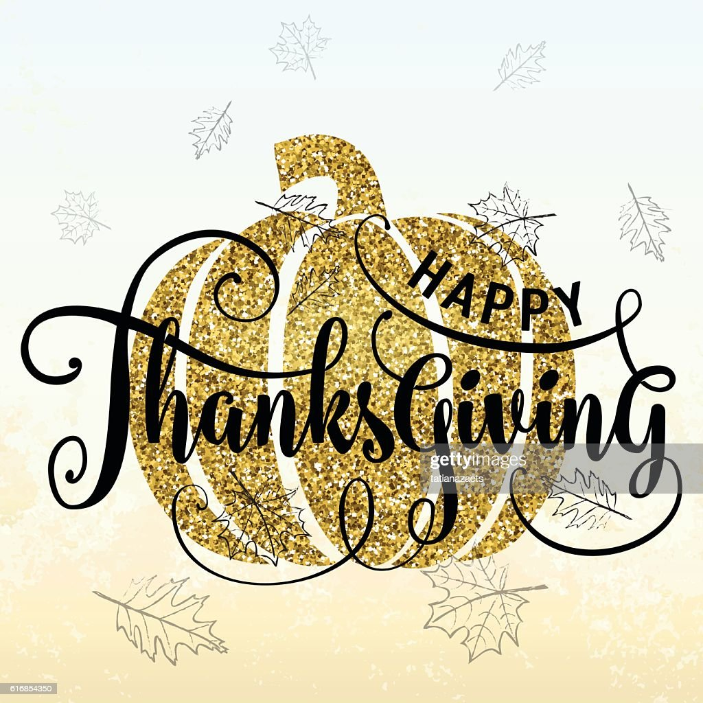 Vector illustration of Happy Thanksgiving Day, luxury gold design : Vector Art